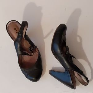 Anthropologie Biviel black slingbac heels-sz 7 1/2